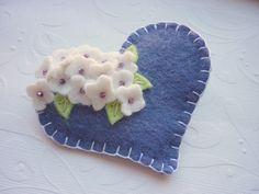 felted flowers | Felt Flower Brooch Heart Beaded Pin Deep by pennysbykristie