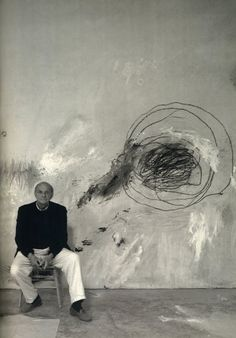 "Cy Twombly in his studio , ""When I work, I work very fast, but preparing to work can take any length of time."" (Twombly)"