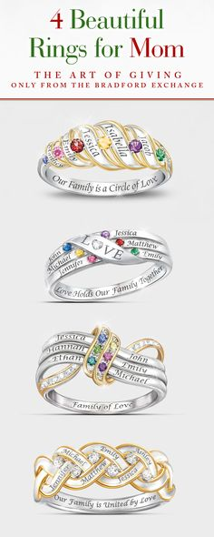 Looking for a beautiful gift for your mother? Our selection of personalized rings honors her family in meaningful, one-of-a-kind jewelry masterpieces. Customize yours today!