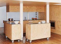 Small Kitchen Designs - 10 sugestões impressionantes e práticas - miniküche - Cozinha Plywood Interior, Plywood Furniture, Kitchen Furniture, Kitchen Interior, Furniture Design, Flexible Furniture, Furniture Nyc, Furniture Dolly, Furniture Ideas