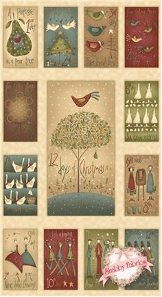 "12 Days of Christmas 7890P-44 Panel By Anni Downs For Henry Glass: 12 Days of Christmas is a holiday collection by Anni Downs of Hatched Patched for Henry Glass Co. 100% cotton. This panel measures approximately 23-1/2"" X 44"". This panel features images measuring approximately 5"" X 9"" representing the twelve days of Christmas surrounding a center image measuring approximately 10-1/4"" X 18-1/2""."