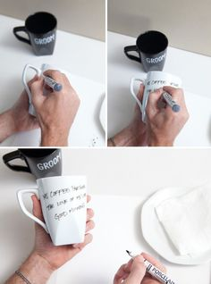 Make these mugs yourself with a porcelain pen and plain mugs. Write little messages to each other, only to be read on the morning of your #wedding. #diy