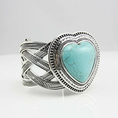 Vintage Green Turquoise Heart Bangle
