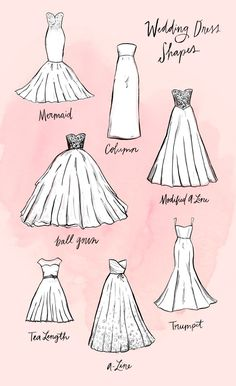 You Ever Wanted to Know About Wedding Dress Silhouettes The most stylish wedding dress shapes that will make you feel extra beautiful on your special day.The most stylish wedding dress shapes that will make you feel extra beautiful on your special day. Dress Design Sketches, Fashion Design Drawings, Fashion Sketches, Drawing Fashion, Fashion Illustration Dresses, Dress Designs, Dress Design Drawing, Clothing Sketches, Pattern Drawing
