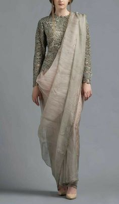 Buy Grey Color Dhoti Saree by Akanksha Singh at Fresh Look Fashion Dhoti Saree, Drape Sarees, Saree Blouse, Kalamkari Saree, Lehenga, Saree Wearing Styles, Saree Styles, Blouse Styles, Indian Fashion Trends