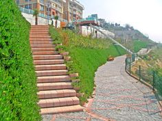 Staircases connect the ramps Retaining Blocks, Retaining Wall Design, Access Ramp, Youth Center, Architectural Elements, Beach Resorts, Stairways, Entrance, Landscape