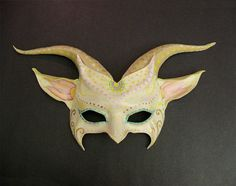 Ivory  and Tan with colorful detail Goaty Mask off by teonova