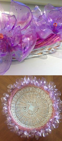 Items similar to Plastic Bottle Flower Spring Basket on Etsy Reuse Plastic Bottles, Plastic Bottle Flowers, Plastic Bottle Crafts, Plastic Art, Recycled Bottles, Plastic Beads, Plastic Containers, Arts And Crafts, Diy Crafts