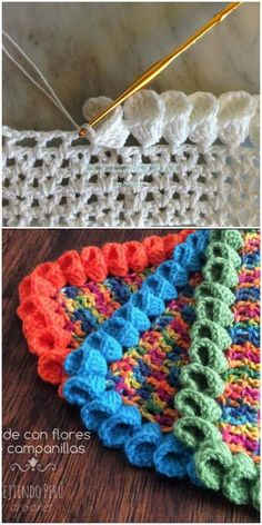 Petal Cone (Flower) Edging for Afghans [Free Pattern and Video Tutorial] – Crochet Ideas – Granny Square Beau Crochet, Knit Or Crochet, Crochet Crafts, Crochet Projects, Craft Projects, Crochet Ideas, Diy Crafts, Crochet Blouse, Project Ideas