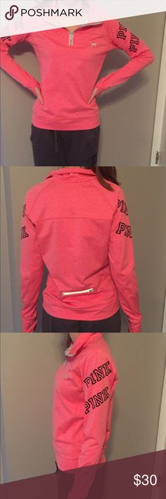 PINK workout quarter zip Like new. Has thumb holes and pocket in back. Form fitting. PINK Victoria's Secret Tops Sweatshirts & Hoodies