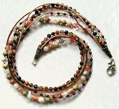 MultiStrand Brown and Pink Beaded Necklace 22 by maggiesbeadery, $115.00