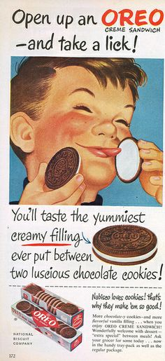 vintage advertising poster for oreo Retro Vintage, Images Vintage, Photo Vintage, Vintage Food, Old Advertisements, Retro Advertising, Retro Ads, 1950s Ads, Posters Vintage