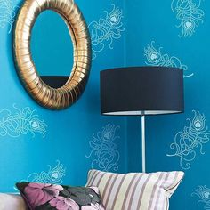 Trendy  wall stencil peacock feathers