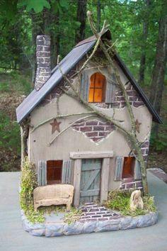Vintage Folk Art Primitive Hand Carved Cottage Fairy Log Cabin Dollhouse Cottage