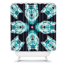 Buy Shower Curtain with Geometric Wolf designed by Chobopop. One of many amazing home décor accessories items available at Deny Designs. Geometric Wolf, Wolf Design, Wood Windows, Recycled Wood, Bed Furniture, Home Decor Accessories, Crates, Home Goods, Pillows