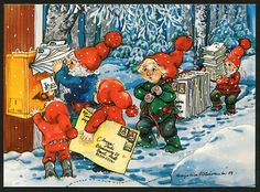 a postcard from Finland, illustration by Marja-liisa Pitkäranta Troll, Christmas Photos, Christmas Cards, David The Gnome, Old Cartoons, Christmas Gnome, Forest Animals, Red Hats, Photo Postcards