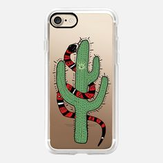 Casetify iPhone 7 Case and Other iPhone Covers - Snake And Cactus by Barruf | #casetify #snake #cactus #iphone
