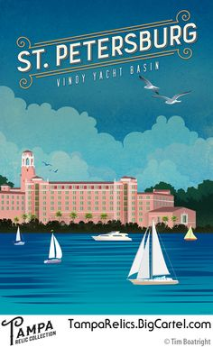 The Vinoy Hotel is a historic Mediterranean Revival-style hotel in St. Petersburg overlooking the Vinoy Yacht Basin. Created by Tampa artist Tim Boatright, this museum quality giclée print on watercolor paper features rich, saturated colors, deep dark tones, and finely nuanced details.