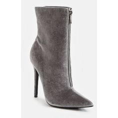 Justfab Booties Ivy Bootie ($40) ❤ liked on Polyvore featuring shoes, boots, ankle booties, grey, gray ankle boots, high heel ankle boots, ankle boots, platform booties and high heel stilettos
