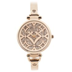 Cubic zirconium accents highlight the ornate goldtone dial of this Fossil watch. This unique timepiece is finished with a slender stainless steel half bangle bracelet with a jewelry clasp.