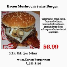 Bacon Mushroom Swiss Burger Our signature Angus burger, Texas smoked bacon, fresh sauteed mushrooms, premium Swiss cheese and mayo on a butter-toasted sesame roll.  ************************************************* Order Online Now ➡️ www.GyreneBurger.com 281-5426  #Happy1stYear #GyreneBurger1stYear #burger #knoxville #burgers #fortsanders #tennessee #cumberland #Gyrene #LocalKnoxvilleEvent #knoxvillebestburger #gyreneburgerkx #gyreneburger #burgerrestaurant #knoxvilleburgerrestaurant…