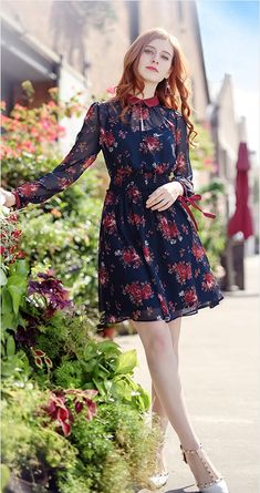 2018 Spring New Lady Hit Coloured Lapel Print Dress Sexy Hollowed Long Sleeved Chiffon Skirt Stylish Dresses, Simple Dresses, Sexy Dresses, Stylish Outfits, Cute Dresses, Beautiful Dresses, Dress Outfits, Casual Dresses, Short Dresses