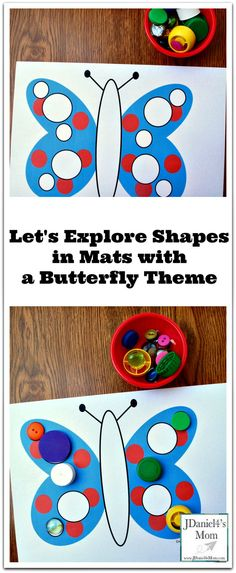 Your children will have a wonderful time exploring a variety of shapes on these butterfly themed mats. Everyday items can be to explore the mats. Insect Activities, Printable Activities For Kids, Spring Activities, Kindergarten Activities, Preschool Learning, Toddler Preschool, Preschool Crafts, Toddler Activities, Fun Activities