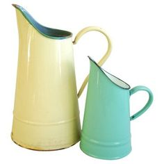 Check out this item at One Kings Lane! French Enameled Pitchers, Pair