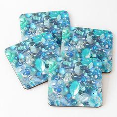 'Aqua Marine Dreams ' Coasters by Drunk Friends, Aqua Marine, Iphone Wallet, Coaster Set, Art Prints, Printed, Awesome, Shop, Products