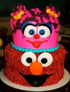 Abby Cadabby and Elmo cake for a 3rd Birthday