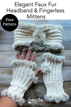 Elegant Faux Fur Crochet Fingerless Mittens - Whistle and Ivy Modern Crochet Patterns Crochet Fingerless Gloves Free Pattern, Crochet Gloves, Mittens Pattern, Fingerless Mittens, Crochet Crafts, Crochet Yarn, Crochet Stitches, Crochet Projects, Free Crochet