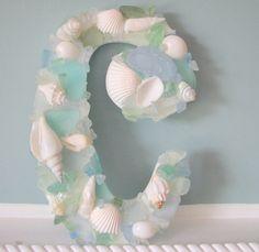 DIY...I am Loving This Sea Glass Monogram !! So Easy To Make !