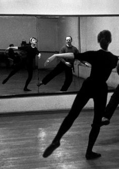 Audrey working on dance moves in Funny Face.