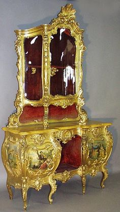 "A Very Fine Italian 19th Century Gildwood Carved ""Vernis Martin"" Style Decorated Credenza Vitrine with a Yellow Marble Top, all original gilding. Circa: Venice, 1860-70"