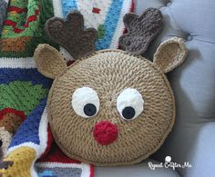 Snuggle up with Rudolph the red-nosed reindeer when you make this pillow usingBernat Blanket Yarn! A little more Christmas in July fun and the perfect piece to add to your holiday decor. Or a fun gift for the holidays! Never to early to start your Christmas crochet projects! Materials: Bernat Blanket Yarn in: Race Car …