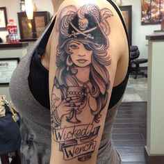 Wicked Wench Pirate tattoo - Arm