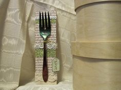 Shabby Chic Altered  Fork Art piece by KMHandyKrafts on Etsy, $12.00