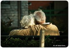 """I wanna grow grey with you"" I love seeing elderly couples still showing affection. Makes my heart happy!"