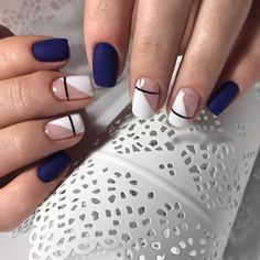 Blue, white, and striped nails