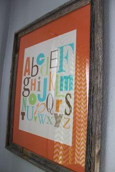 teal blue lime green bright orange modern nursery alphabet art work