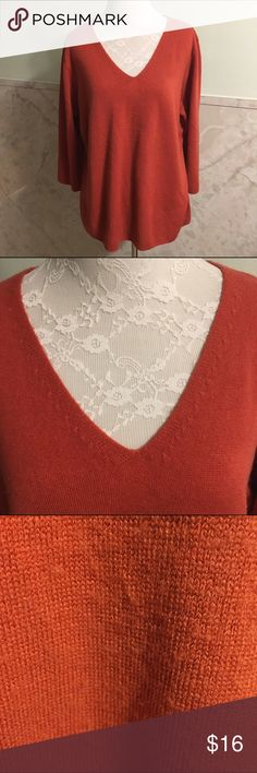 Super Soft Orange V-Neck Sweater XL This sweater is a super soft and somewhat fuzzy acrylic. It's a rustic orange color and made by RQT in a size XL. RQT Sweaters V-Necks
