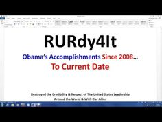 """""""ASS-WIPE"""" Obama's Accomplishments Since 2008… To Current Date 1/14/2016"""