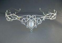 SilverMoon Circlet Headpiece Wedding Bridal Celtic Elven Medieval Fairytale Renaissance Headdress Tiara