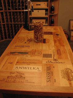 Recycled Wine Crates - butcher block style island for the store