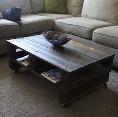 Wooden Pallet Coffee Table    Two wooden palettes, a little stain, and some casters are all you need to build a trendy coffee table. DIY doesn't get much cheaper or easier than this.