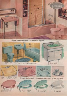 Vintage Bathroom-Montgomery Ward 1961 - I totally had the pink bathroom! Vintage Sink, Vintage Room, Vintage Kitchen, Vintage Decor, Vintage Stuff, Vintage Ads, Mid Century Decor, Mid Century House, Vintage Bathrooms