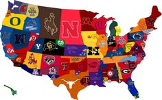 "College Football Map - Though I think there should be an asterisk here that says ""not to scale.""  Look how little of Oregon is taken up by the Beavers and how little of CA by USC.  Those are not representative. Football Stadiums, Football Season, Football Team, College Football, Football Fever, Basketball Players, Basketball Hoop, Tailgating, State University"