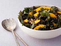 Massaged Kale Salad with Mango. Really tasty with coconut rice and glazed tofu. Notes: Make the dressing first, salt the kale, then massage the salt in with the dressing rather than adding what amounts to dressing and then pouring dressing over it. Skip the first olive oil/lemon juice/salt step for this; it's too much as written. Also, if you have a larger lemon, cut the lemon juice called for in half and add to taste.
