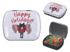"""Scarf and Black Cat (Happy Holidays)""Jelly Belly Tins  #kitten #Cat #Holiday #Christmas #Jelly #gift"