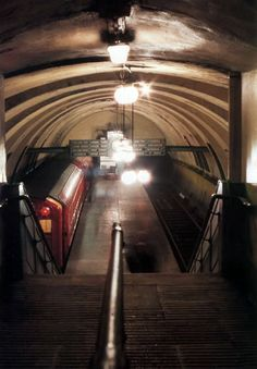 """Merkland Street Station, Glasgow; c.1977, the only station on the """"clockwork orange"""" to be closed during the 1977-1980 refurbishment. Image from """"Glasgow Subway Album"""" by a George Watson."""